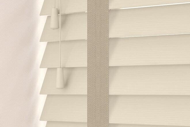 Charisma 50 Stone Fine Grain - 50mm Slat Faux Wood Blind Light Beige Tape