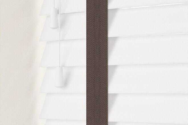 Charisma 50 White - 50mm Slat Faux Wood Blind Coffee Tape