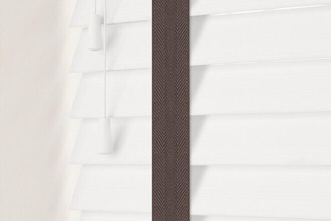 Charisma 50 White Fine Grain - 50mm Slat Faux Wood Blind Coffee Tape