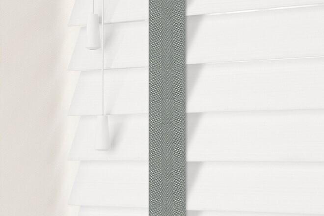 Charisma 50 White Fine Grain - 50mm Slat Faux Wood Blind Flint Tape