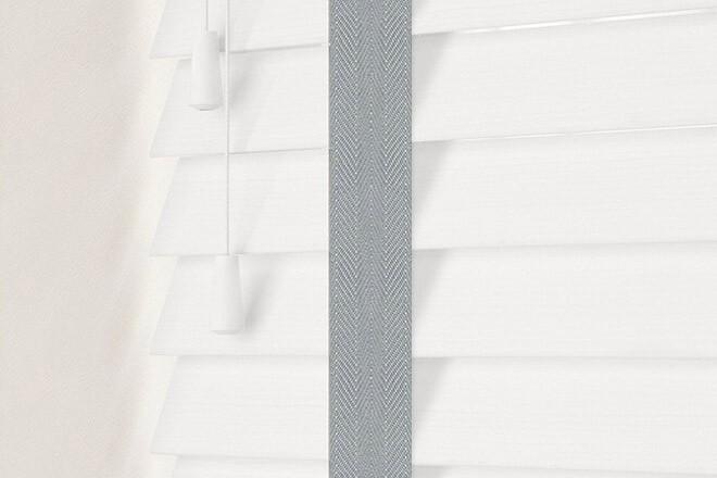 Charisma 50 White Fine Grain - 50mm Slat Faux Wood Blind Steel Tape