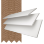 Charisma 50 White Fine Grain - 50mm Slat Faux Wood Blind Toffee Tape