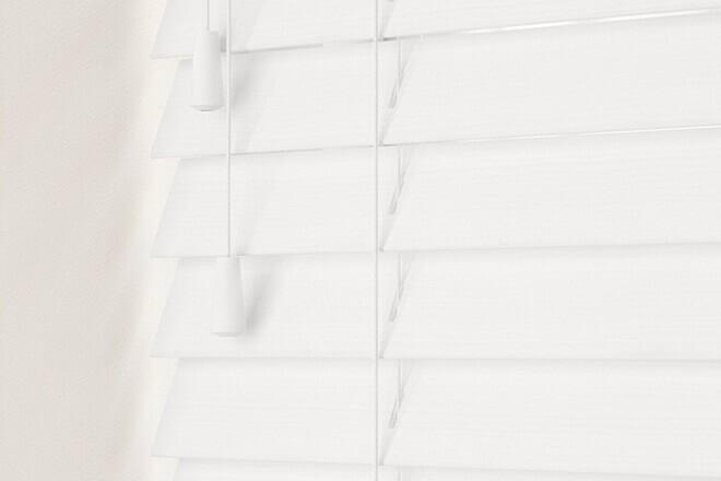 Charisma 35 White Fine Grain - 35mm Slat Faux Wood Blind