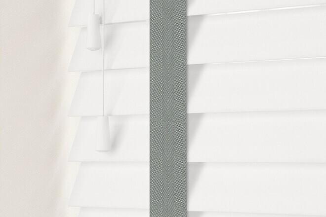 Charisma 50 White - 50mm Slat Faux Wood Blind Flint Tape