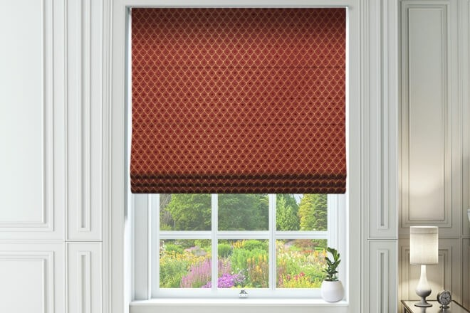 Augustus Wine - Faux Silk & Chenille Pattern Roman Blind