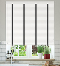 Charisma 35 White - 35mm Slat Faux Wood Blind with Black Tape