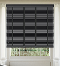 Maine 35 Black - 35mm Slat Wooden Venetian Blind with Charcoal Tape