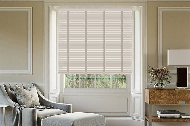 Maine 35 Stone - 35mm Slat Wooden Venetian Blind with Vapour Tape