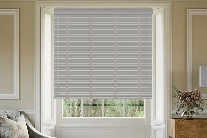 Maine 35 Mid Grey - 35mm Slat Wooden Venetian Blind with Solis Tape