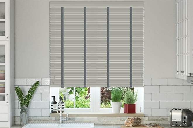 Charisma 35 Mid Grey - 35mm Slat Faux Wood Blind with Slate Tape