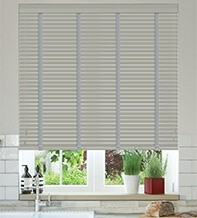 Charisma 35 Mid Grey - 35mm Slat Faux Wood Blind with Steel Tape