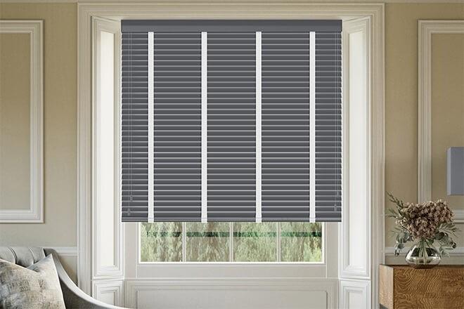 Morgan 35 Dark Grey - 35mm Slat Wooden Blind Cotton Tape