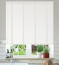 Charisma 35 White - 35mm Slat Faux Wood Blind with Chalk Tape