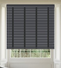 Maine 50 Slate Grey - 50mm Slat Wooden Venetian Blind Charcoal Tape