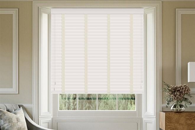 Maine 50 White - 50mm Slat Wooden Venetian Blind Linen Tape