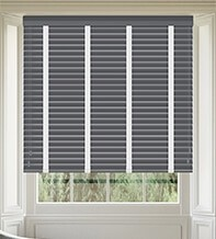 Morgan 50 Dark Grey - 50mm Slat Wooden Blind Cotton Tape