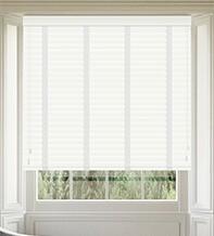 Morgan 50 White Gloss - 50mm Slat Wooden Blind Cotton Tape