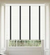 Morgan 50 White Gloss - 50mm Slat Wooden Blind Black Tape