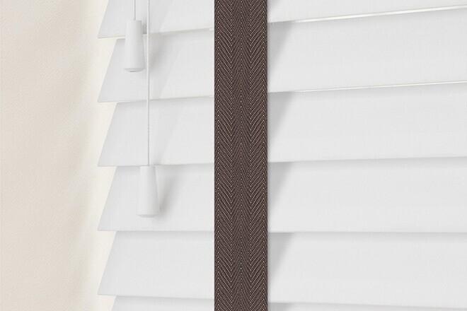 Charisma 35 Bright White - 35mm Slat Faux Wood Blind Coffee Tape