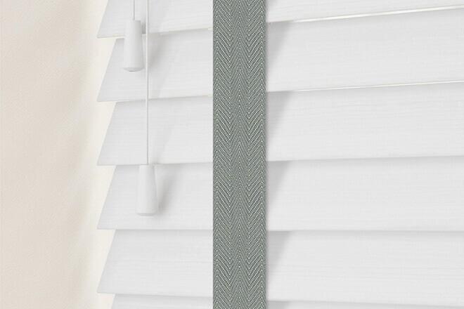 Charisma 35 BW Fine Grain - 35mm Slat Faux Wood Blind Flint Tape