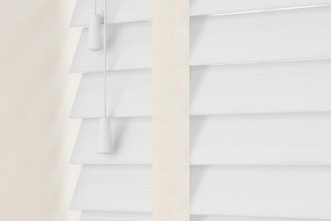 Charisma 35 BW Fine Grain - 35mm Slat Faux Wood Blind Vanilla Tape