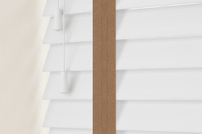 Charisma 35 Bright White - 35mm Slat Faux Wood Blind Toffee Tape