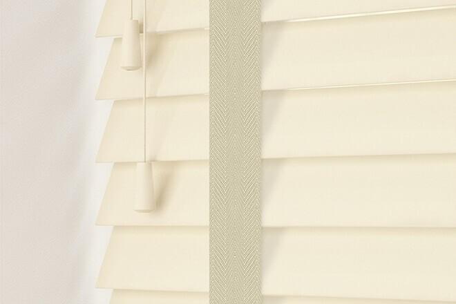 Charisma 35 Cream - 35mm Slat Faux Wood Blind Ecru Tape