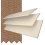 Charisma 35 Cream Fine Grain - 35mm Slat Faux Wood Blind Toffee Tape