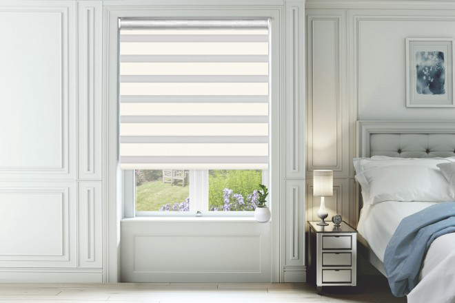 Home White Ivory with Matching Box Weave Day and Night Blind