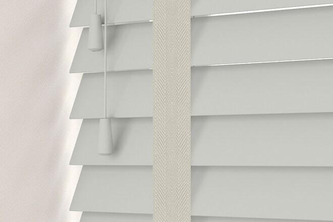 Charisma 35 Light Grey - 35mm Slat Faux Wood Blind Pebble Tape