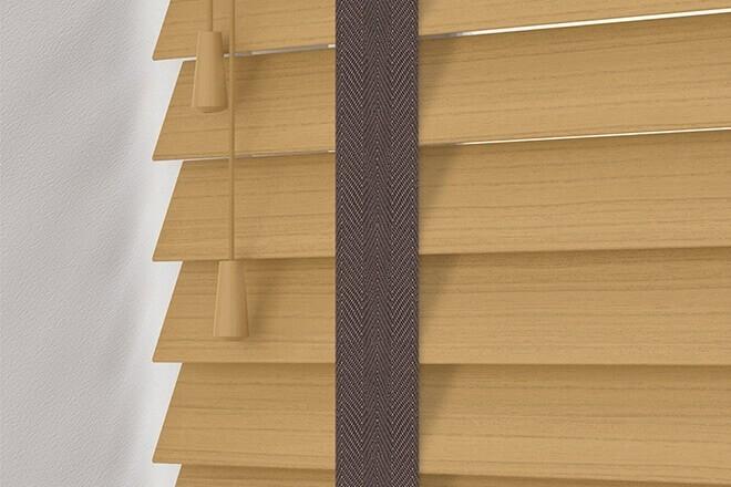 Charisma 35 Light Oak - 35mm Slat Faux Wood Blind Coffee Tape