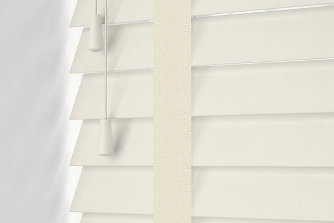 Maine 50 Ivory - 50mm Slat Wooden Venetian Blind Whisper Tape