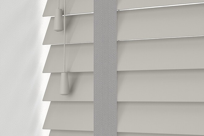Maine 50 Light Grey - 50mm Slat Wooden Venetian Blind Shadow Tape