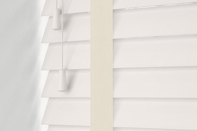 Maine 35 White - 35mm Slat Wooden Venetian Blind with Linen Tape