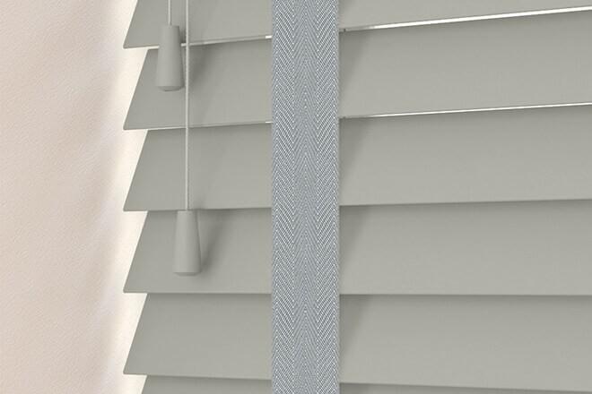 Charisma 50 Mid Grey - 50mm Slat Faux Wood Blind Steel Tape