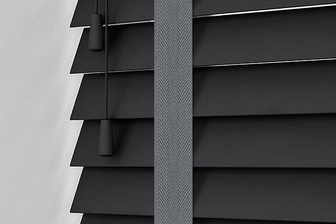 Morgan 50 Black - 50mm Slat Wooden Blind Slate Tape