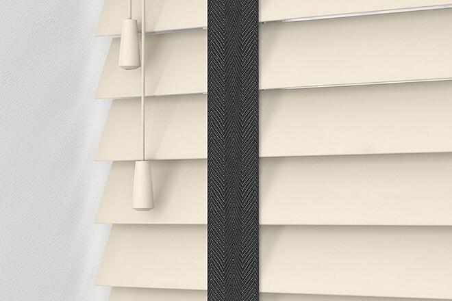 Morgan 35 Cream - 35mm Slat Wooden Blind Black Tape