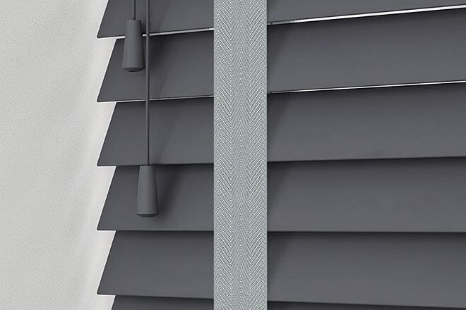 Morgan 35 Dark Grey - 35mm Slat Wooden Blind Steel Tape