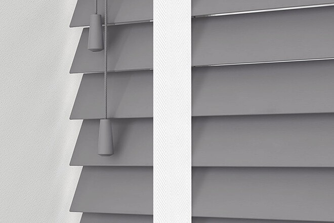 Morgan 50 Light Grey - 50mm Slat Wooden Blind Cotton Tape