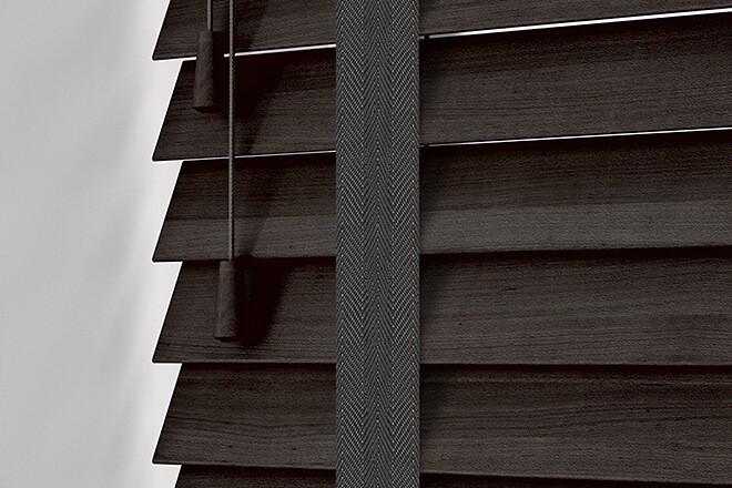 Morgan 35 Mahogany - 35mm Slat Wooden Blind Black Tape