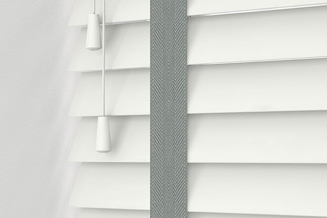 Morgan 50 White - 50mm Slat Wooden Blind Flint Tape