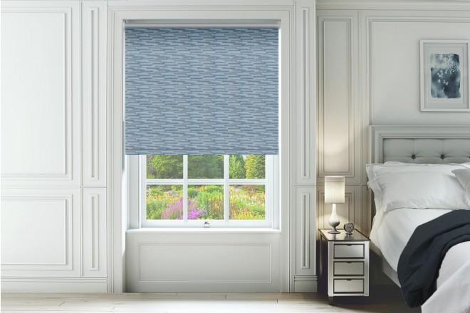 Urban Blue - Horizontal Pattern Blackout Roller Blind