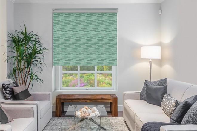 Urban Green - Horizontal Pattern Blackout Roller Blind