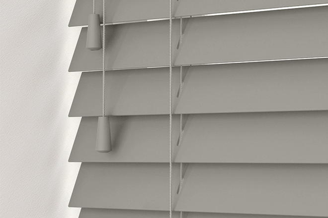 New England Light Grey - 50mm Slat Faux Wood Blind