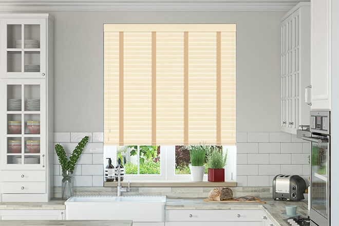 New England Cream Embossed - 50mm Slat Faux Wood Blind with Caramel Tape