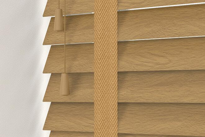 New England Golden Oak - 50mm Slat Faux Wood Blind with Caramel Tape