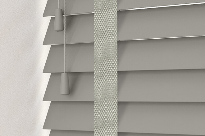 New England Grey - 50mm Slat Faux Wood Blind with Grey Tape