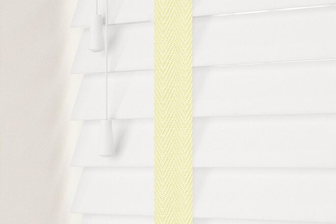 New England Chalk White - 50mm Slat Faux Wood Blind with Cream Tape