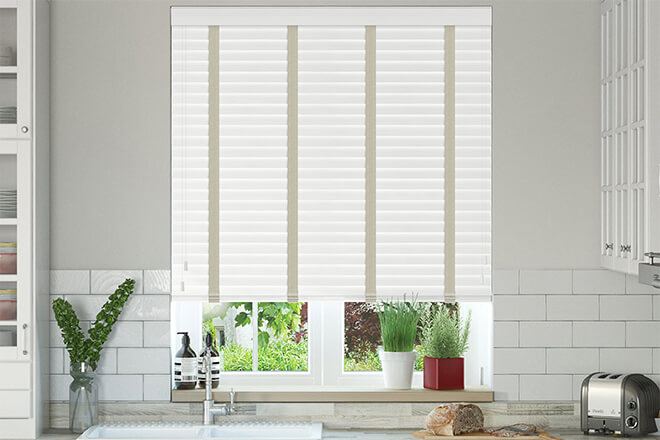 New England White Embossed - 50mm Slat Faux Wood Blind with Cream Tape