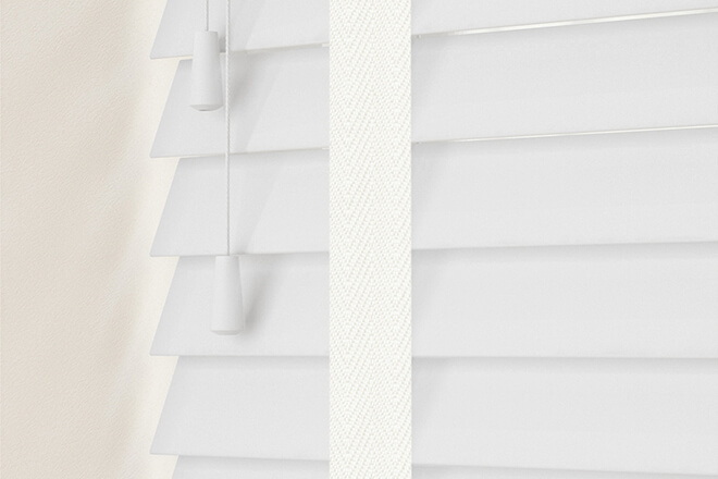 New England Chalk White Gloss - 50mm Slat Faux Wood Blind with Cream Tapes